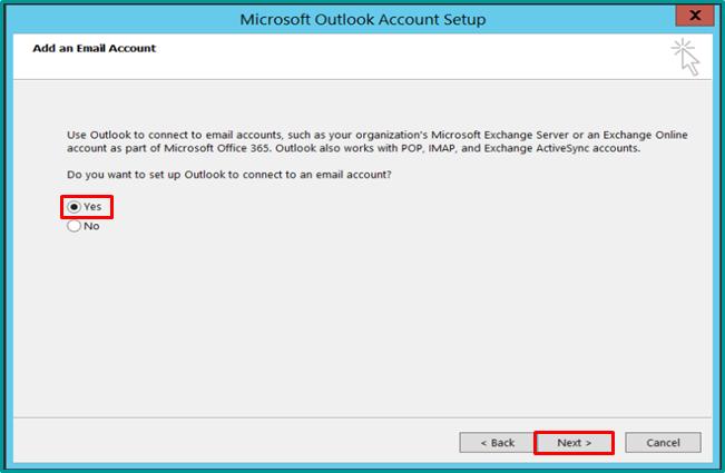 YOA Email Setup Instructions - Outlook 2013 Manual Setup