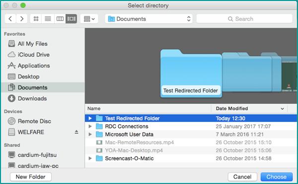 Redirected Folder - Remote Desktop Connection Client for Mac
