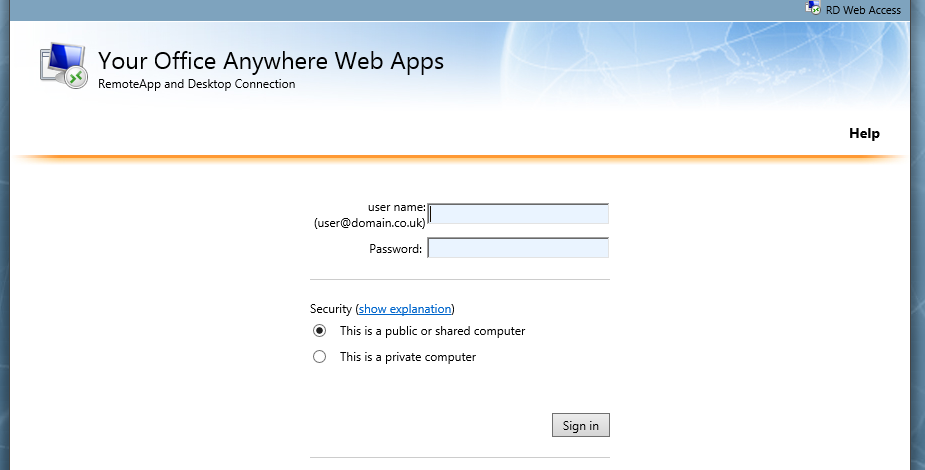 WebApps Log in Page